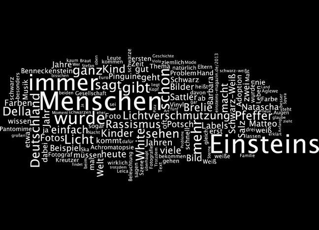 Einsteins Schwarz-Weiß als Wortwolke