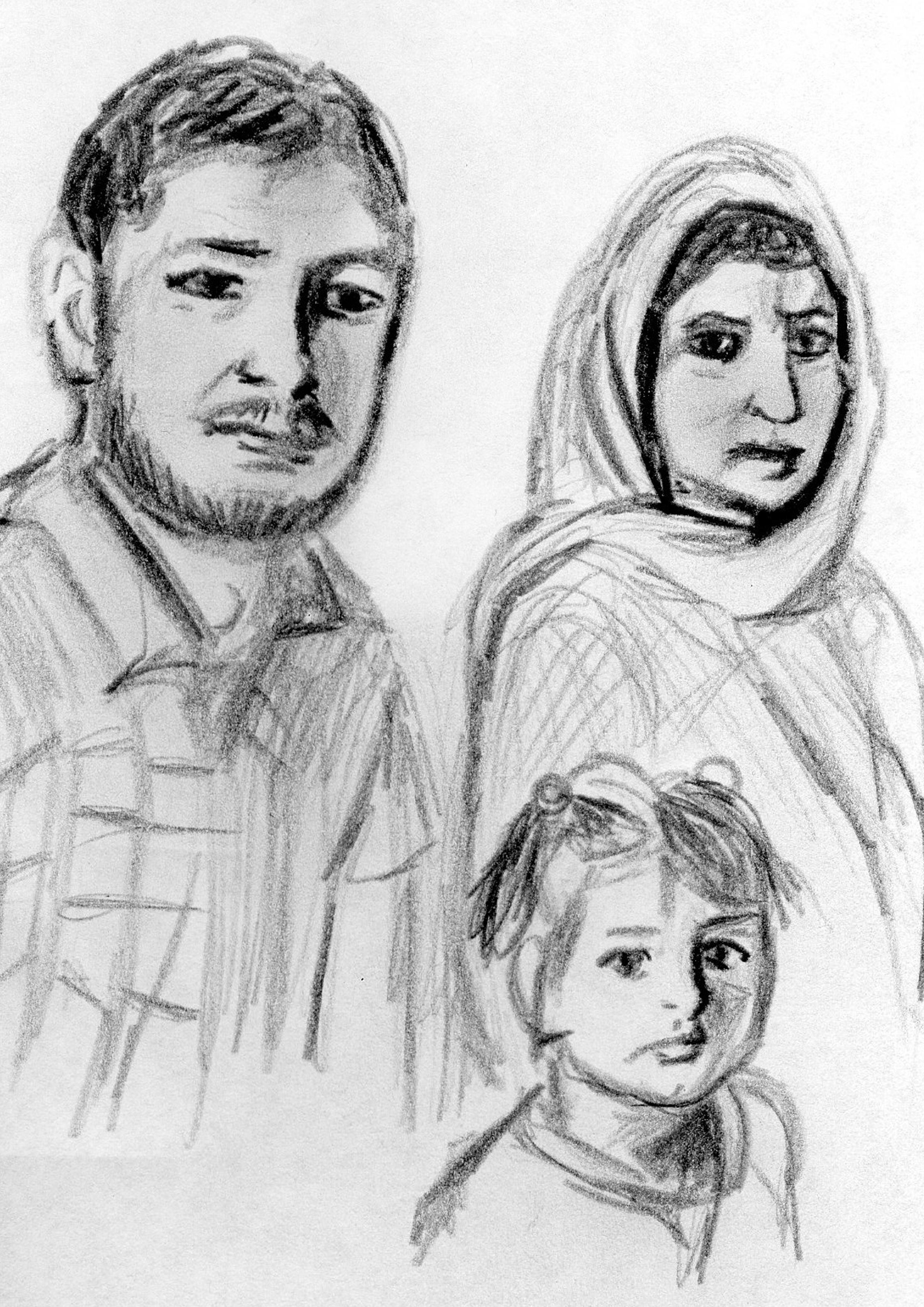 Familie Bakthan (Zeichnung: Amanda Müller)